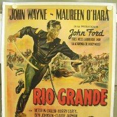 Cine: E2043D RIO GRANDE JOHN WAYNE POSTER ORIGINAL ARGENTINO 75X110 ENTELADO LITOGRAFIA. Lote 11561508