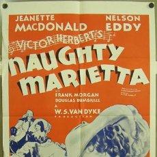 Cine: T02214 MARIETTA LA TRAVIESA JEANETTE MACDONALD POSTER ORIGINAL USA 70X105. Lote 5079285