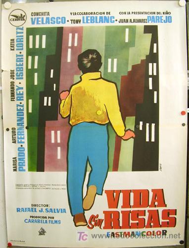 T02348 VIDA SIN RISAS TONY LEBLANC FERNANDO REY JOSE ISBERT POSTER ORIGINAL 100X140 ESTRENO RARO (Cine - Posters y Carteles - Clasico Español)