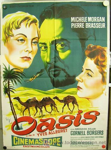 ZM03D OASIS MICHELE MORGAN PIERRE BRASSEUR POSTER ORIGINAL DE SOLIGO 70X100 DEL ESTRENO LITOGRAFIA (Cine - Posters y Carteles - Aventura)