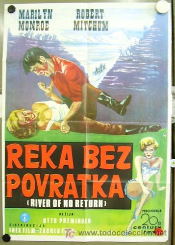 T02432 RIO SIN RETORNO MARILYN MONROE POSTER ORIGINAL YUGOSLAVO 47X68 (Cine - Posters y Carteles - Aventura)