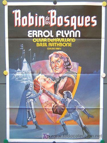 T02560 ROBIN DE LOS BOSQUES ERROL FLYNN POSTER ORIGINAL 70X100 ESPAÑOL (Cine - Posters y Carteles - Aventura)
