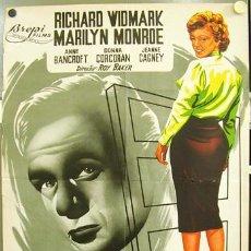 Cinema: T02713 NIEBLA EN EL ALMA MARILYN MONROE RICHARD WIDMARK JANO POSTER ORIGINAL 70X100 LITOGRAFIA. Lote 14063046
