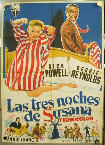 XK11D LAS TRES NOCHES DE SUSANA DEBBIE REYNOLDS POWELL JOSE MARIA POSTER 70X100 ESTRENO LITOGRAFIA (Cine - Posters y Carteles - Comedia)