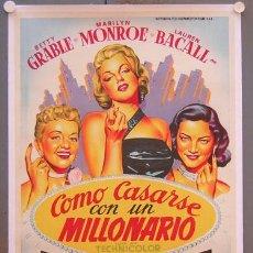 Cine: T02848 COMO CASARSE CON UN MILLONARIO MARILYN MONROE SOLIGO POSTER ORIGIN 70X100 ENTELADO LITOGRAFIA. Lote 20719266