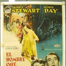 Cine: E1492D EL HOMBRE QUE SABIA DEMASIADO ALFRED HITCHCOCK POSTER ORIGINAL ESTRENO 70X100 ENTELADO. Lote 22054680