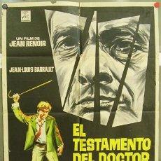 Cine: T02968 EL TESTAMENTO DEL DOCTOR CORDELIER JEAN RENOIR POSTER ORIGINAL ESPAÑOL 70X100 ESTRENO. Lote 5337451