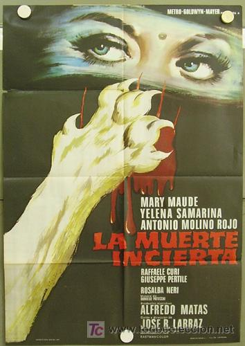 T03064 LA MUERTE INCIERTA JOSE RAMON LARRAZ POSTER ORIGINAL ESPAÑOL 70X100 DE ESTRENO (Cine - Posters y Carteles - Suspense)