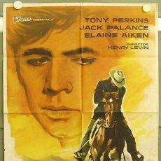 Cine: T03006 UN HOMBRE SOLITARIO ANTHONY PERKINS JACK PALANCE POSTER ORIGINAL ESPAÑOL 70X100 DE ESTRENO. Lote 5346526