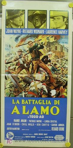 T03049 EL ALAMO JOHN WAYNE TODD-AO POSTER ORIGINAL 33X70 ITALIANO (Cine - Posters y Carteles - Westerns)