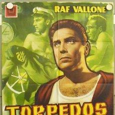 Cine: T03153 TORPEDOS HUMANOS RAF VALLONE PERIS POSTER ORIGINAL 70X100 ESTRENO. Lote 12374638