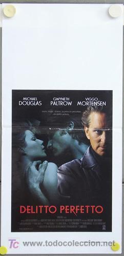 T03788 UN CRIMEN PERFECTO GWYNETH PALTROW MICHAEL DOUGLAS POSTER ORIGINAL ITALIANO 33X70 (Cine - Posters y Carteles - Suspense)