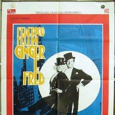 Cine: T03936 GINGER Y FRED FEDERICO FELLINI MASTROIANNI POSTER ORIGINAL ITALIANO 100X140. Lote 5855476