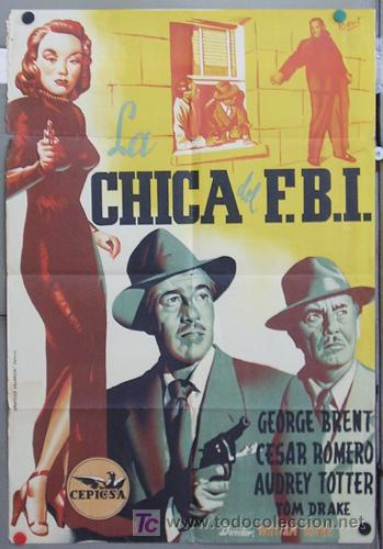 ZQ04D LA CHICA DEL FBI AUDREY TOTTER CESAR ROMERO POSTER ORIGINAL 70X100 ESTRENO LITOGRAFIA (Cine - Posters y Carteles - Acción)