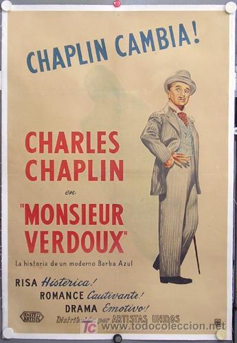 E2042D MONSIEUR VERDOUX CHARLES CHAPLIN POSTER ORIGINAL ARGENTINO 75X110 ENTELADO LITOGRAFIA (Cine - Posters y Carteles - Comedia)