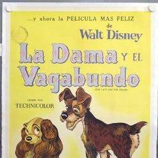 Cine: E1733D LA DAMA Y EL VAGABUNDO WALT DISNEY POSTER ORIGINAL ARGENTINO 75X110 ENTELADO LITOGRAFIA. Lote 22478224