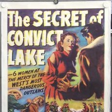 Cine: ZD14D THE SECRET OF CONVICT LAKE GENE TIERNEY GLENN FORD POSTER ORIGINAL USA 70X105 ENTELADO. Lote 7923604