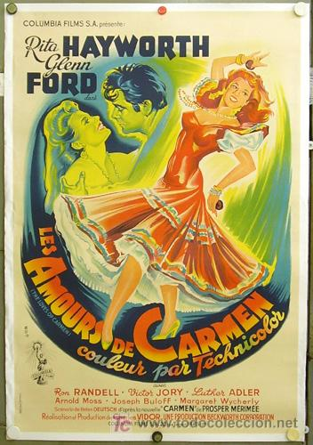E1621D LOS AMORES DE CARMEN RITA HAYWORTH POSTER ORIGINAL FRANCES 84X124 ENTELADO LITOGRAFIA (Cine- Posters y Carteles - Drama)