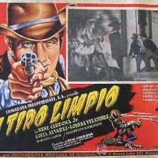 Cine: WESTERN - A TIRO LIMPIO - RENE CARDONA - LORENA VELAZQUEZ - ORIGINAL MEXICAN LOBBY CARD. Lote 12934609