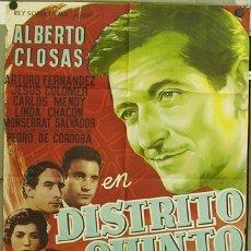 Cine: T04472 DISTRITO QUINTO ALBERTO CLOSAS POSTER ORIGINAL 70X100 DEL ESTRENO. Lote 12963844