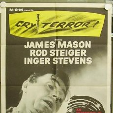 Cine: T04630 CRY TERROR JAMES MASON POSTER ORIGINAL USA 70X105. Lote 6130665