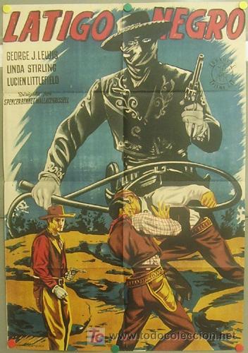 OZ84D LATIGO NEGRO EL ZORRO GEORGE J. LEWIS PIÑANA POSTER ORIGINAL 70X100 ESTRENO LITOGRAFIA (Cine - Posters y Carteles - Westerns)