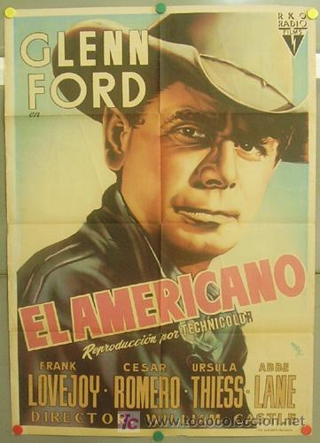 T04932 EL AMERICANO GLENN FORD WILLIAM CASTLE MCP POSTER ORIGINAL 70X100 ESTRENO LITOGRAFIA (Cine - Posters y Carteles - Westerns)