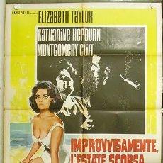 Cine: YD92D DE REPENTE EL ULTIMO VERANO ELIZABETH TAYLOR KATHARINE HEPBURN CLIFT POSTER ITALIANO 100X140. Lote 12565785