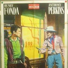 Cine: WN94 CAZADOR DE FORAJIDOS ANTHONY MANN HENRY FONDA ANTHONY PERKINS POSTER ORIGIN 100X140 ITALIANO. Lote 20311913