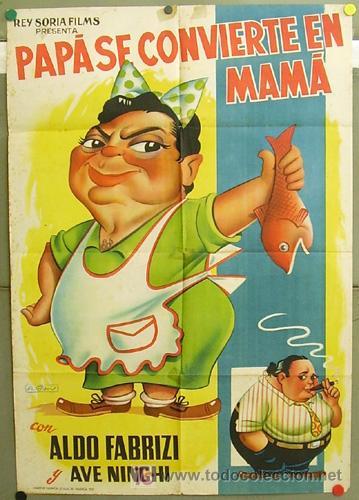 T05200 PAPA SE CONVIERTE EN MAMA ALDO FABRIZI POSTER ORIGINAL 70X100 ESTRENO LITOGRAFIA (Cine - Posters y Carteles - Comedia)