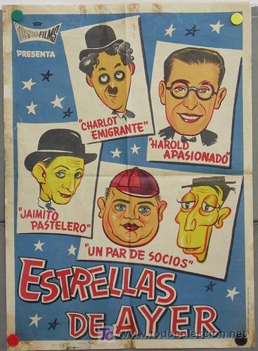 T05283 ESTRELLAS DEL AYER CHARLOT LAUREL HARDY LARRY SEMON HAROLD LLOYD POSTER 50X70 LITOGRAFIA (Cine - Posters y Carteles - Comedia)