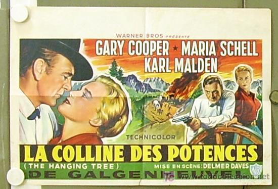 ZM57D EL ARBOL DEL AHORCADO GARY COOPER MARIA SCHELL POSTER ORIGINAL BELGA 38X56 LITOGRAFIA (Cine - Posters y Carteles - Westerns)