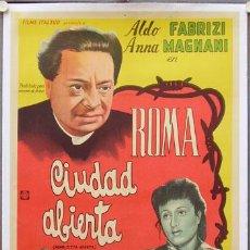 Cine: E2014D ROMA CIUDAD ABIERTA ROSSELLINI MAGNANI POSTER ORIGINAL ARGENTINO 75X110 ENTELADO LITOGRAFIA. Lote 16489915