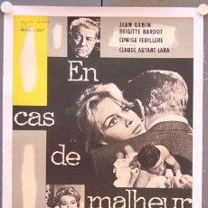 Cine: T05416 LOVE IS MY PROFESSION CAS DE MALHEUR BRIGITTE BARDOT POSTER FRANCES ORIGINAL 60X80 ENTELADO. Lote 16042717