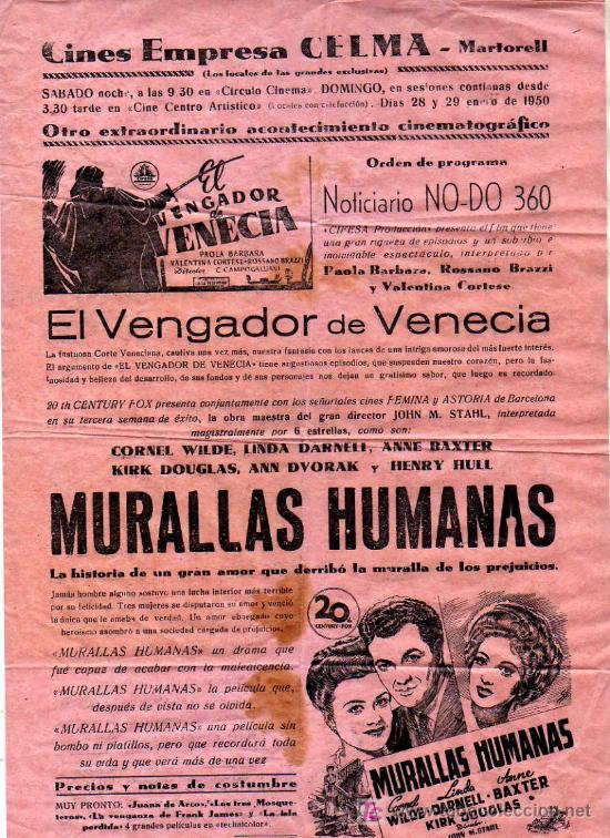 INTERESANTE MINI CARTEL DE CINES EMPRESA CELMA-MARTORELL-NERO DE 1950 (Cine - Posters y Carteles)