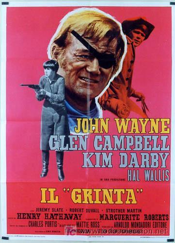 T05702 VALOR DE LEY JOHN WAYNE POSTER ORIGINAL ITALIANO 100X140 (Cine - Posters y Carteles - Westerns)