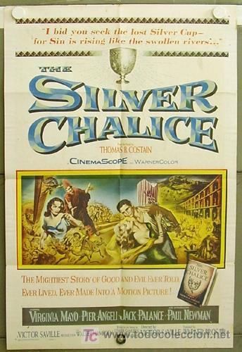 T05800 SILVER CHALICE PAUL NEWMAN PIER ANGELI VIRGINIA MAYO POSTER ORIGINAL USA 70X105 LITOGRAFIA (Cine- Posters y Carteles - Drama)