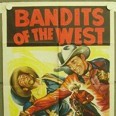 Cine: ZB76D BANDITS OF THE WEST ALLAN ROCKY LANE POSTER ORIGINAL AMERICANO 70X105. Lote 6689940