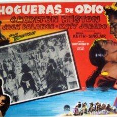 Cine: CHARLTON HESTON - HOGUERAS DE ODIO - WESTERN - KATY JURADO - ORIGINAL MEXICANO LOBBY CARD. Lote 13433920