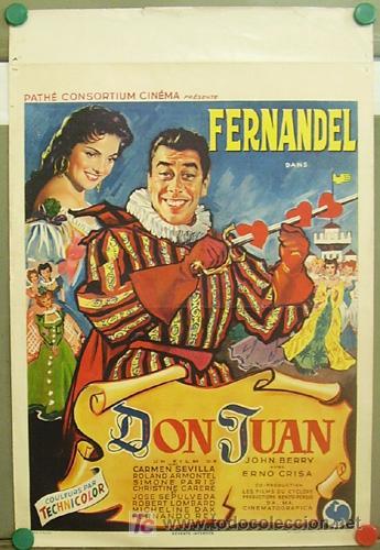 T06085 EL AMOR DE DON JUAN CARMEN SEVILLA FERNANDEL POSTER ORIGINAL BELGA 37X56 (Cine - Posters y Carteles - Clasico Español)