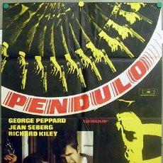 Cine: T06190 PENDULO GEORGE PEPPARD JEAN SEBERG MAC POSTER ORIGINAL 70X100 ESTRENO. Lote 6839025