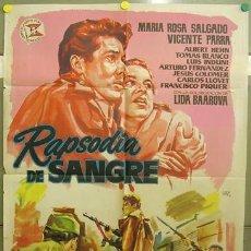 Cine: T06231 RAPSODIA DE SANGRE ANTONIO ISASI VICENTE PARRA GUERRA CIVIL POSTER ORIGINAL 70X100 ESTRENO. Lote 12626595