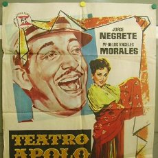 Cine: T06268 TEATRO APOLO JORGE NEGRETE RAFAEL GIL MARIA DE LOS ANGELES MORALES POSTER ORIGINAL 70X100. Lote 12597584