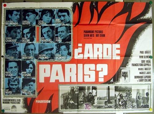 Cine: T06205 ARDE PARIS BELMONDO DELON DOUGLAS POSTER ORIGINAL 2 hojas 87X125 del ESTRENO - Foto 1 - 6840575