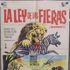 Cine: T06904 LA LEY DE LAS FIERAS DOCUMENTAL AFRICA SALVAJE POSTER ORIGINAL ESTRENO 70X100. Lote 7266541
