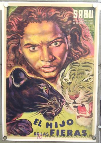 E2072D EL LIBRO DE LA SELVA SABU KORDA VENTURI POSTER ARGENTINO 75X110 ENTELADO LITOGRAFIA (Cine - Posters y Carteles - Aventura)