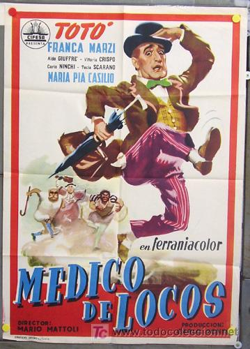 WN89D MEDICO DE LOCOS TOTO CIFESA POSTER ORIGINAL 70X100 ESTRENO NO ESTRENADA (Cine - Posters y Carteles - Comedia)