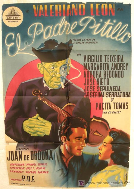 CARTEL CINE EL PADRE PITILLO LITOGRAFIA CIFESA AÑOS 40-50 ORIGINAL (Cine - Posters y Carteles - Comedia)