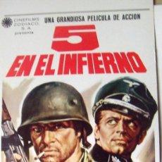 Cine: BELICO - 5 EN EL INFIERNO - JOHN GARKO KLAUS KINSKI 28 X 70 CMS ORIGINAL LOBBY CARD MEXICANO DOBLE. Lote 13723255