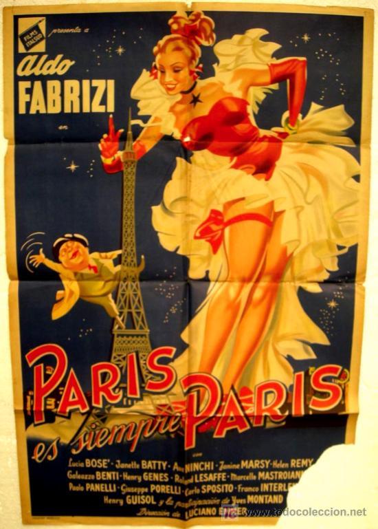 CARTEL CINE PARIS ES SIEMPRE PARIS , AÑOS 40-50, ARGENTINA (Cine - Posters y Carteles - Aventura)